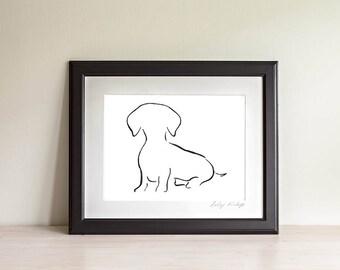 Framed Daschund Art Print, Daschund Line Art, Daschund Gift, Wiener Dog Art Print, Sausage Dog, Minimalist Art, Modern Art,Dog Lover Gift