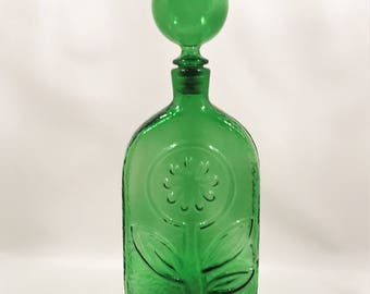Vintage Retro Green Empoli Bottle Made in Italy c1960's