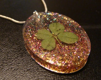 Four Leaf Clover Pendant Necklace / Sparkle / Good Luck Charm / Silver 925 Chain Included / Real 4-Leaf Clover / Natural Foliage / Eco