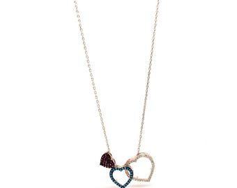Women's jewellery Rose Gold Triple Heart with Cubic Zirconia Pendant Necklace - 925 Sterling Silver. Gift Box Included - Birthday Gifts
