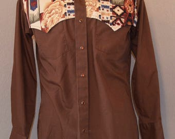 Champion Western Snap Shirt Brown Decorative Pockets L Large