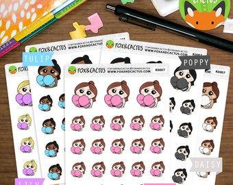 Boxing Kawaii Girls - Fitness Workout Exercise - Planner Stickers (K0007)