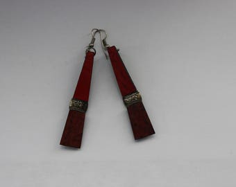 African Leather and Silver Drop Earrings