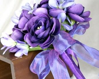 Purple Ranunculus Wedding Bouquet, Purple and Light Blue Bridal Bouquet, Blue Ginger and Purple Ranunculus Brides Bouquet, Violet Bouquet