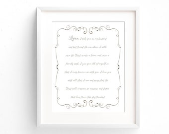 Wedding Vow Print - First Anniversary Gift - Paper Anniversary Gift - Wedding Vow Art - Wedding Vow Keepsake - Wedding Gift - Wedding Vows