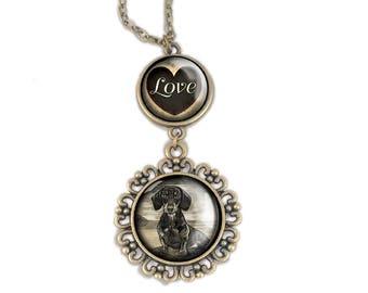 Dachshund Love pendant necklace