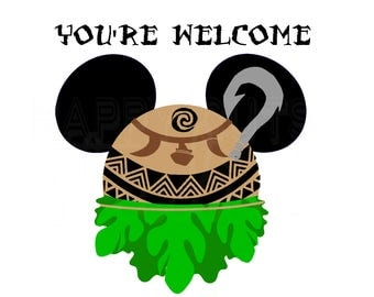 Maui Mickey Mouse Head  Moana Disney World Vacation Family Father Dad Son Aulani Hawaii Tropical  Disney Iron On Decal Vinyl for Shirt 204