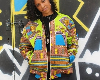 African Bomber Jacket - Winter Jacket - Dashiki Jacket - African Wax Print - African Clothing - Festival Clothing - Festival Jacket