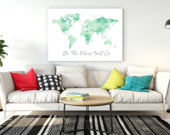 World map room decor Mint watercolor world map with gold quote Oh the  places you'