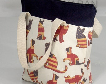 10% OFF [ Orig. 19.99 ]Cat Lunch bag, Waterproof tote, Canvas Lunch bag, Reusable Lunch bag, Handmade bag, Tote, Gift