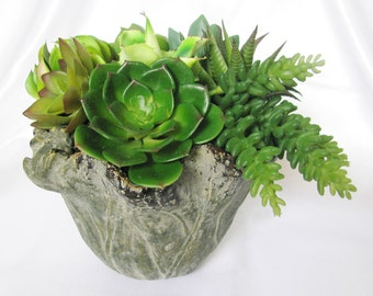 Faux Succulent in Grey Green Cement Planter, Artificial Succulent Arrangement, Modern Arrangement, Succulent Centerpiece, Succulent Gift