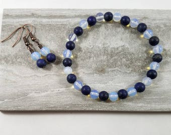 Matching opalite and lapis lazuli stretch bracelet and earring set