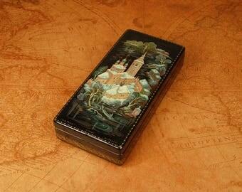 Kholui center of russian lacquer miniature art Hand painted black box Above the Teza