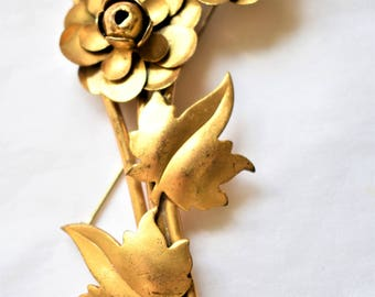 Vintage Metal Flower Statement Brooch Coat Sweater Pin Mid Century Costume Jewelry 4""