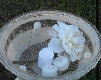 Make your Vintage Wedding  Sparkle   with a beautiful vintage glass  hanging  votive candle / tea light holder or hanging vase.