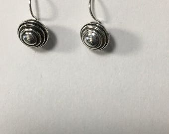 Sterling Silver with Black Foliage Sphere Earrings