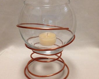 Copper Terrarium with Stand / Candle Holder with Stand / Terrarium with Stand / Air Plant Terrarium / Succulent Terrarium / Modern Terrarium