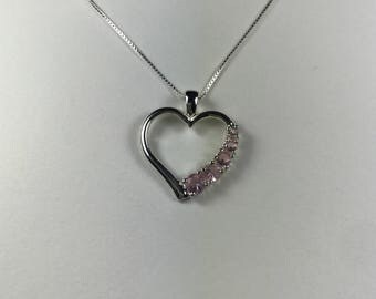 Vintage Pink Cubic Zirconia 925 Sterling Silver Heart Pendant Necklace