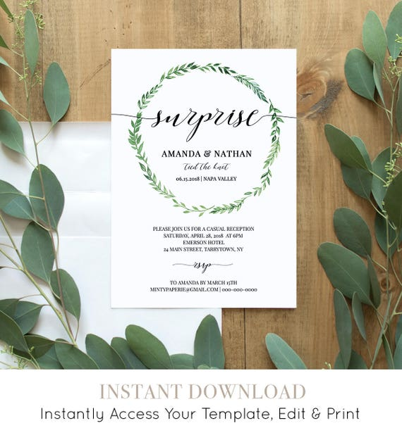 Elopement Reception Invitation, Printable Elope Announcement, Surprise, We Tied the Knot, 100% Editable, Instant Download, DIY #026-104EL