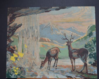Paint By Numbers Art, Vintage Paint By Numbers Deer Painting, Paint by Numbers Buck and Doe, Mid Century 1950s Paint By Numbers Unframed