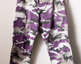 "Purple Camo Army Cargo Pants - 30"" to 33"" waist"