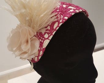 Cream and magenta / pink lace curvette headband / headpiece / fascinator, ideal for the races