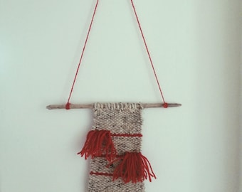 Handwoven Wall Hanging/Weaving - Red and Oatmeal