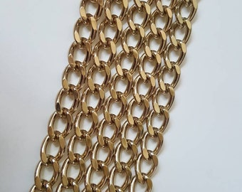 Brass Yellow Gold 8mm Diamond Cut Curb Chain - Choose Length