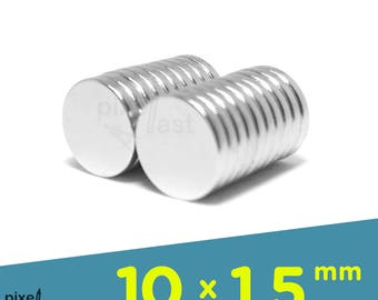 20 Pack - Neodymium Magnets -  10mm x 1.5mm Diameter - Craft Magnets Super Strong Skinny Magnets