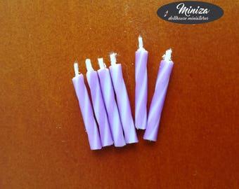 Miniature purple candles, 1:12 scale