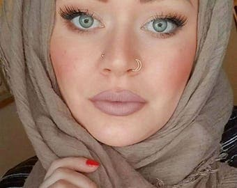 Crescent Nose Ring - Nose Piercing - Moon Nose Ring - Nose Stud - Silver Nose Hoop - Thin Nose Ring - Snug Nose Ring - Double Nose Ring