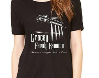 Disney Halloween Shirt Gracey Family Reunion Haunted Mansion Shirt Ladies Slouchy Disneyland Shirt Disney World Shirt