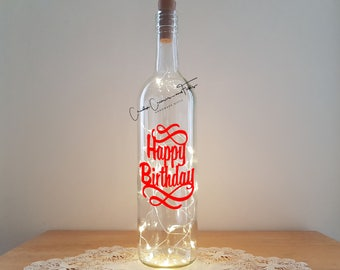 Lit Bottle Kit - Happy Birthday with Flourish, Bottle Lamp, Wine Bottle Light, Bottle Light, Table Decor, Unusual Gift, Crafty Creases