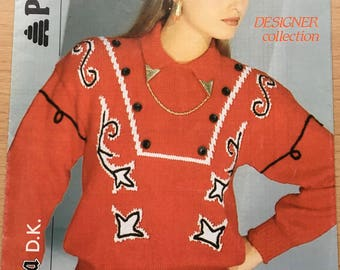 Ladies Western Jumper Knitting Pattern, Patons Knitting Pattern, Ladies Collared Sweater Pattern, Cowboy Style Jumper Pattern, No. B 8613