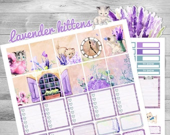 Printable planner stickers, Summer stickers, use with Erin Condren, kitten stickers, Lavender, July, Kawaii planner stickers, glam plan