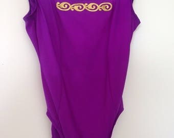 Vintage 1980s Purple Bathing Suit with Gold Emroidery / One piece onesie/ Small-Medium B cup