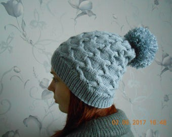 Grey knitted hat Grey women hat Gray winter hat Grey hat Women's knitted hat Women's hat Winter women's cap  Knitted hat Warm hat For her
