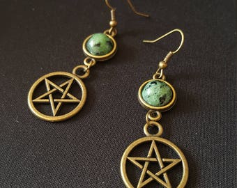 Green - Zoisite with Ruby - cabochon - Pentagram - Pentacle stone gems - witch - wicca - Voodoo - halloween earrings