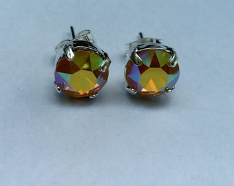 Yellow opal ab swarovski crystal earrings