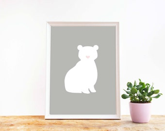 Polar bear print, Instant download, Printable wall decor, Grey print, Animal art, Wall decor, Scandinavian art, white bear, Digital art