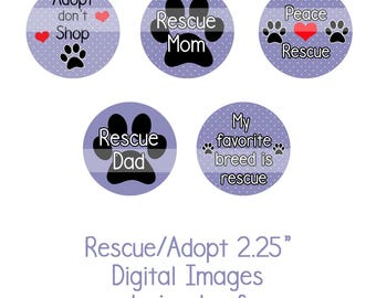 """2.25"""" Rescue/Adopt Collage Sheet Instant Download Adopt don't Shop, Dog Rescue, Shelter Dogs"""