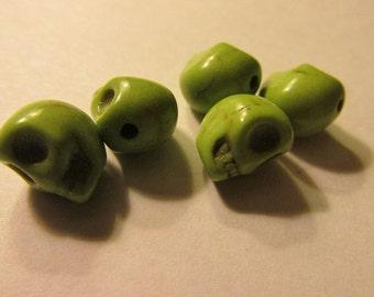 Carved Lime Green Mini Skull Howlite Beads, 8mm, Set of 5