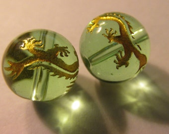Chinese Gold Etched Dragons on Round Clear Green Crystal Beads, 15mm, Set of 2