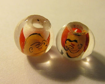 Vintage Reverse Hand Painting of the Buddha in Round Glass Beads, 10mm, Set of 2
