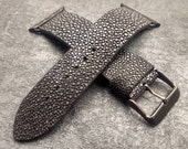 Stingray leather Apple Watch band 42mm, 38mm, Apple watch strap, iwatch band   Black polished stingray leather   Free shipping