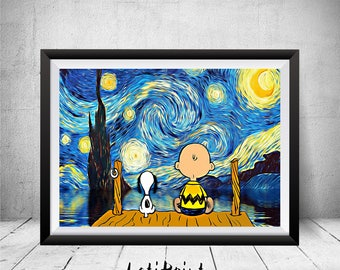 Snoopy and Charlie Brown Print, Starry Night Print, Charlie Brown, Snoopy Art, Snoopy Wall Art Decor, Snoopy Poster, Kids Decor, Peanuts Art
