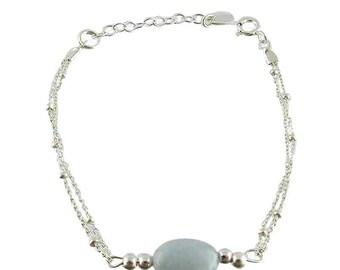 Navy silver aquamarine bracelet