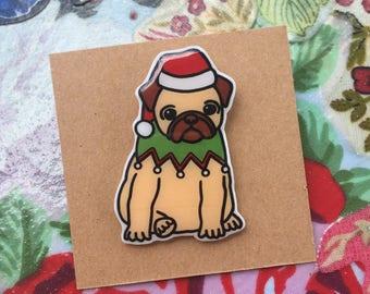 Christmas Pug Badge