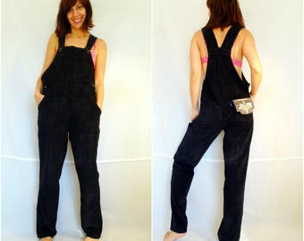 Womens bib overalls loose corduroy overalls size XS gray loose pants oversize overalls bohemian wide leg jumpsuit vintage 90s dead stock