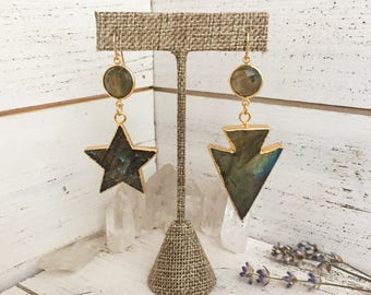 Labradorite star and arrowhead drop dangle gold-plated earrings with gold labradorite connectors - celestial, bohemian boho gifts for her